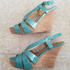 SEYCHELLES Teal Wedge Sandals Size 8